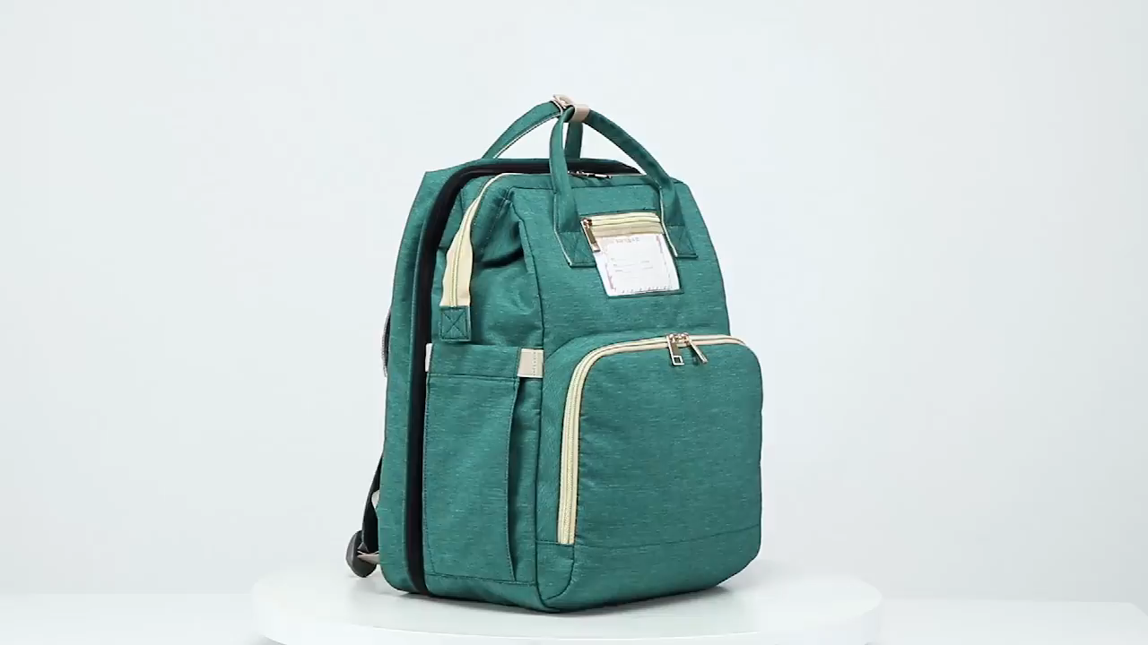 Multifunktions große kapazität wasserdichte mommy tasche faltbare krippe rucksack windel tasche mit baby bett