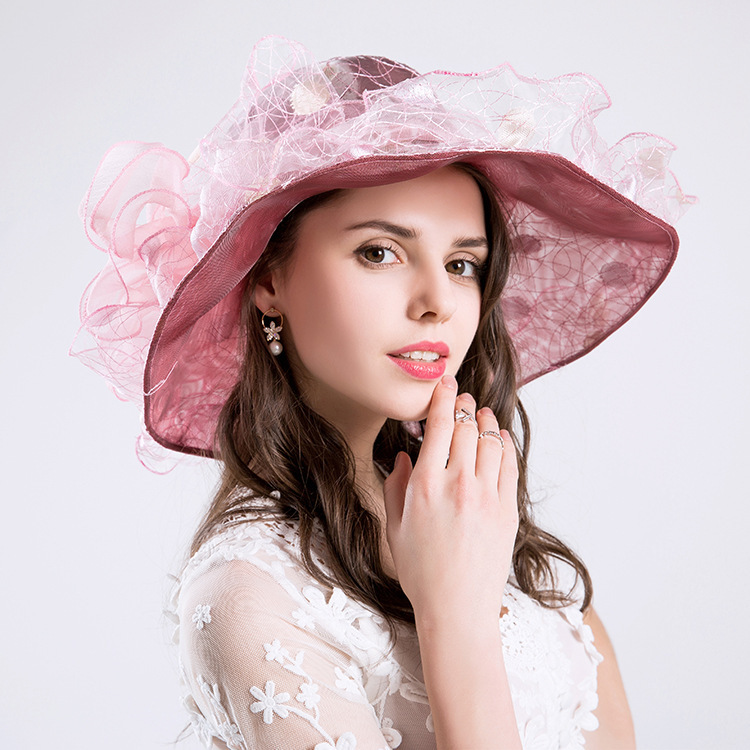 2019 Summer Anti-UV bow-knot fashion mesh visor women sun hat