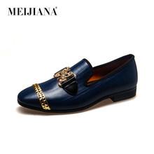 MEIJIANA, новые мужские лоферы из лакированной кожи, черного и золотистого цветов, Мужские модельные туфли ручной работы для банкета без шнуров...(Китай)