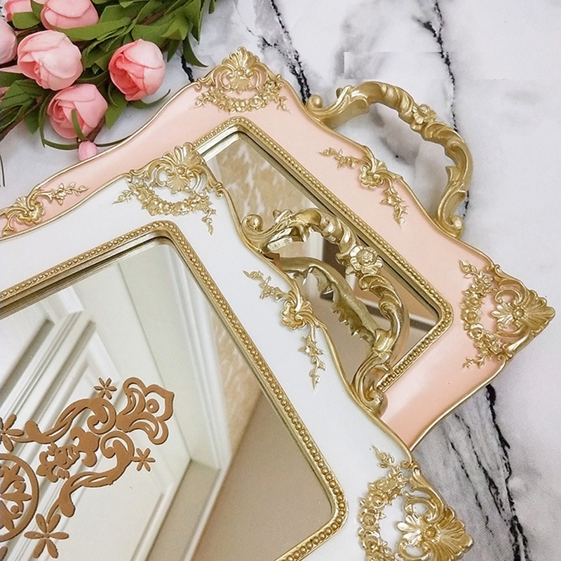 European Vintage Cake Trays Gold Mirror Glass Cupcake Plate Perfume Holder Mirrored Makeup Tray Wedding Party Home Decoration