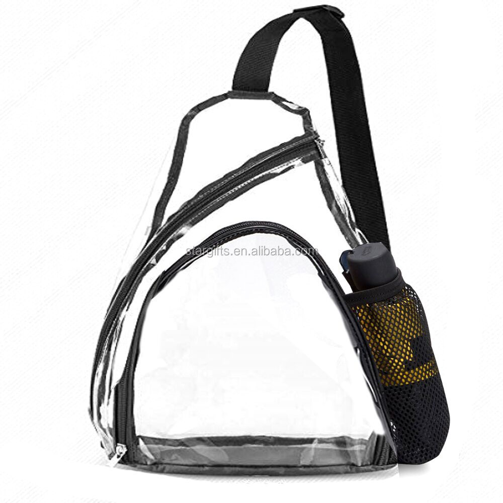 2020 Hot Stadium Approved Clear Shoulder Crossbody Backpack Waterproof Women Men Clear PVC Sling Bag