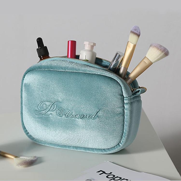 Personnalisé En Gros fantaisie en velours carré portable sac de maquillage cosmétique