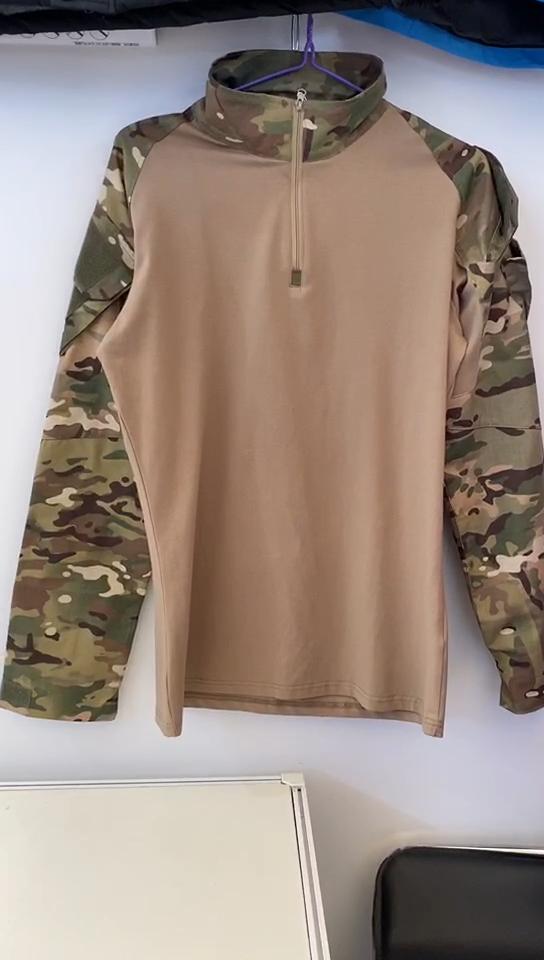 Hommes Armée Anti-Déchirure Tactique T-Shirts Manches Longues Camouflage Randonnée Chemise Automne Chasse Paintball Vêtements