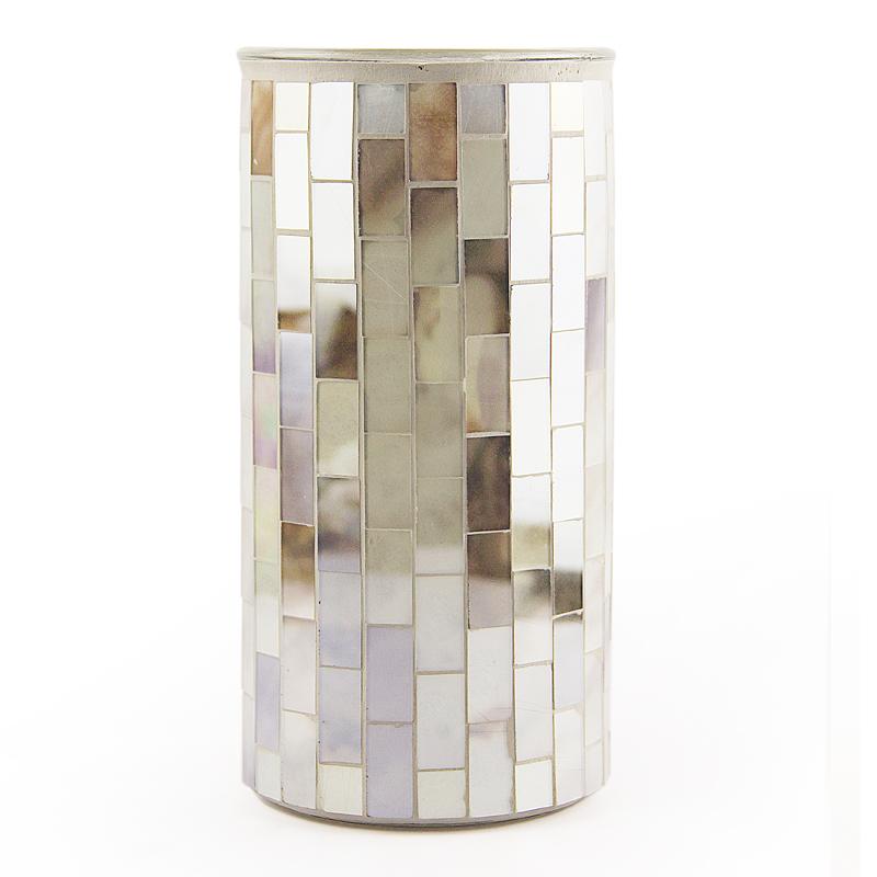 New cylinder 20cm modern luxury Mediterranean blue art floor mosaic Glass flower vases  for home deco