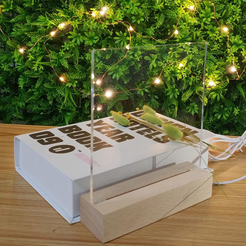 Zhongshan Hot Sale Blank Acrylic 5-6mm Acrylic Sheet OEM Plate With Wooden Lamp Base Baby Night Light