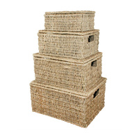 metal frame seagrass storage Baskets with lid