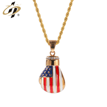 Top quality metal gold plated enamel custom USA style glove pendant necklace