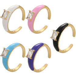 Hot Sale Jewelry Multi Color Crystal Rectangle Ope
