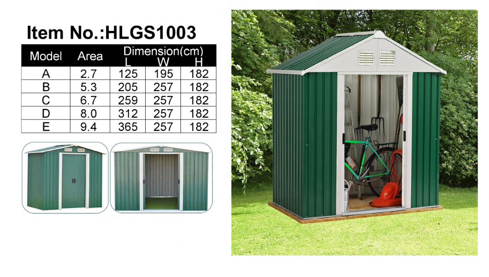High Performance Home & Garden Outdoor Metal Tools Storage Shed/Metal Storage Shed