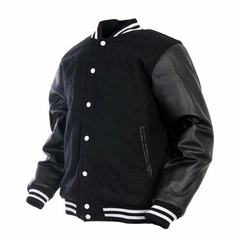 Custom made giacca varsity/bianco del manicotto di cuoio nero del corpo di lana giacca varsity Letterman