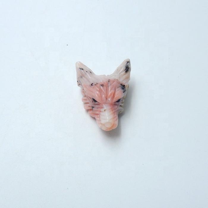 Mineral Ukiran Batu Pink Opal Liontin Batu Permata Alami Diukir Gorgeose Serigala Kepala 35X26X14 Mm 11.7G