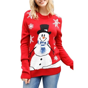 Women Cute Christmas Pullover Long Sleeve Knit Sweater
