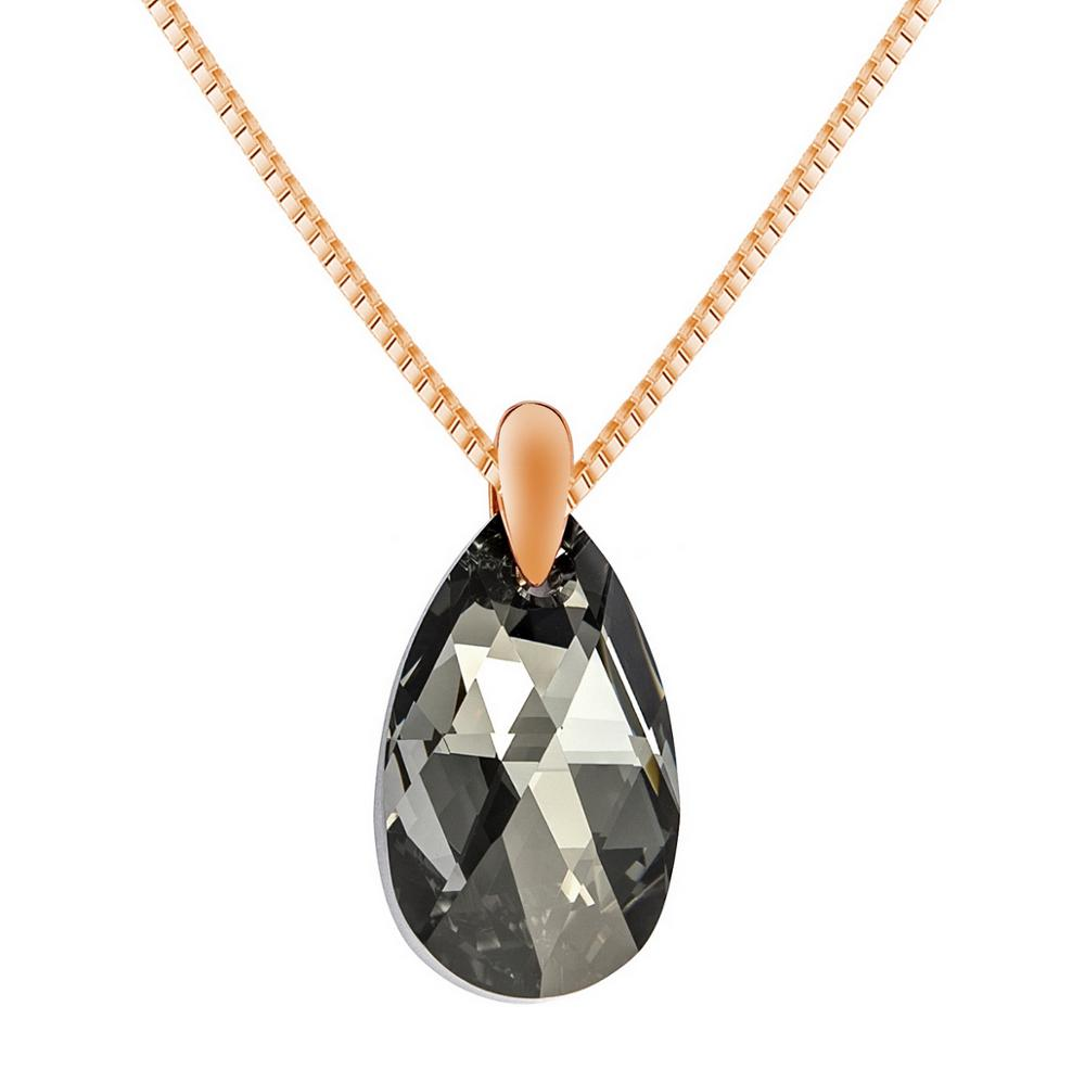 Zwart Aurora Drop Ketting Hanger 925 Sterling Zilver Rose Gold Party Geschenken Hermosa Sieraden Kristallen Uit Swarovski