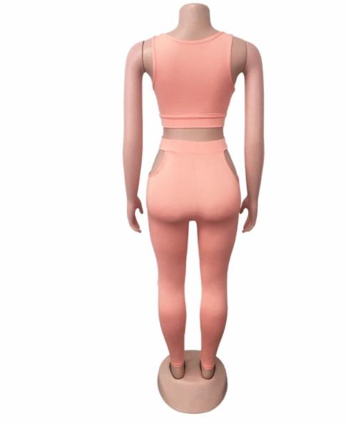 MD-2082631 Baru 2020 Wanita Trendi Bodycon Celana dan Tanpa Lengan Tanaman Top Dua Sepotong Set