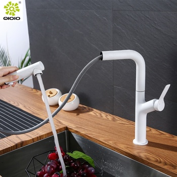 Guangdong professional manufacturer 304 Stainless steel casting white single hole pull down 2-way kitchen sink mixer tap
