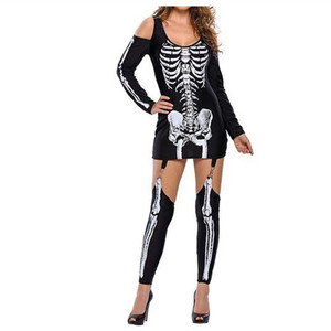 Adult Skeleton Day of The Dead Costumes Women Sexy Halloween ghost vampire bride Fanci Dress QAWC-0407