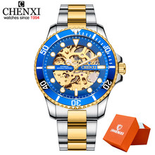 CHENXI часы автоматические механические часы мужские наручные часы Мужские механические часы мужские черные открытые часы Relogio Masculino(Китай)