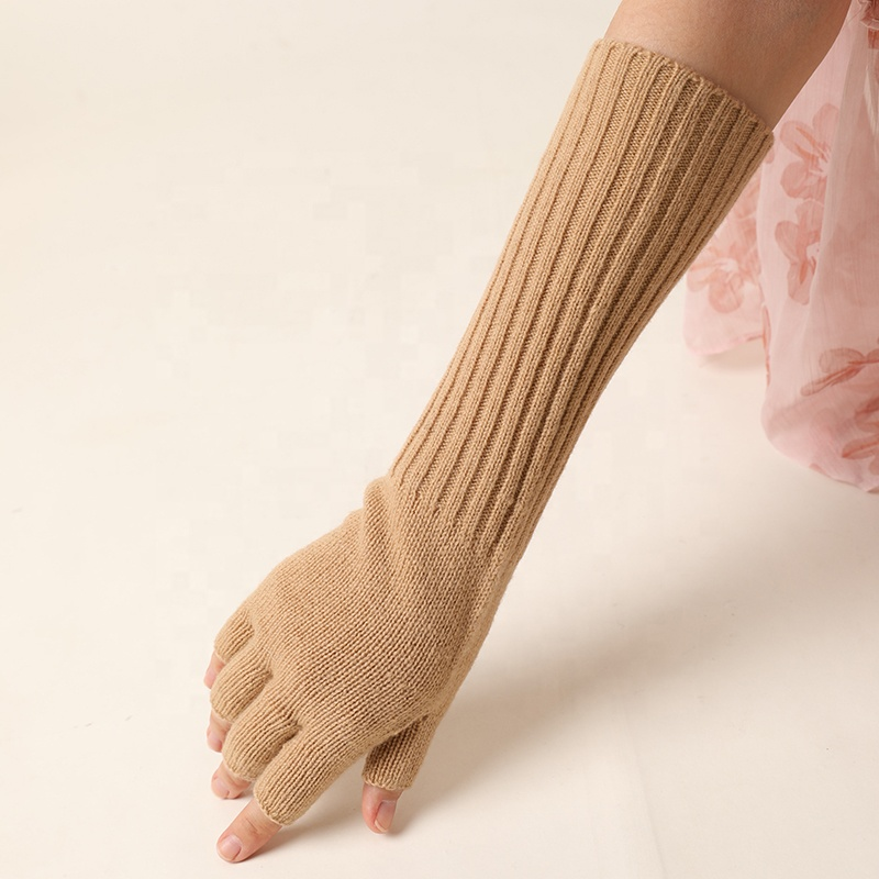 High Quality Fashion Winter Keep warm Knitted 100% Wool Fingerless Gloves