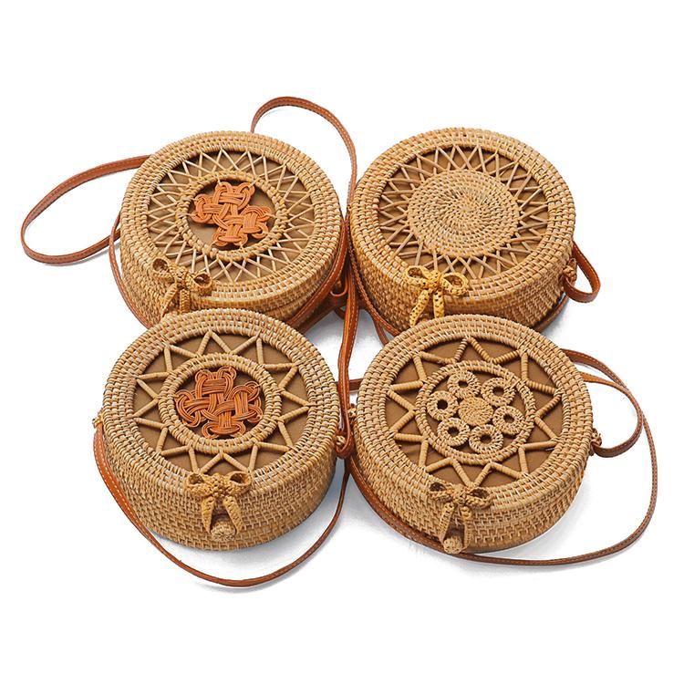 Wholesale bali beach handmade woven round natural straw rattan shoulder bag for women