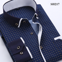 New Arrival Korean Style Fashion Printed Long Sleeve Men's Shirt Casual Business Slim Fit Male Social Shirts