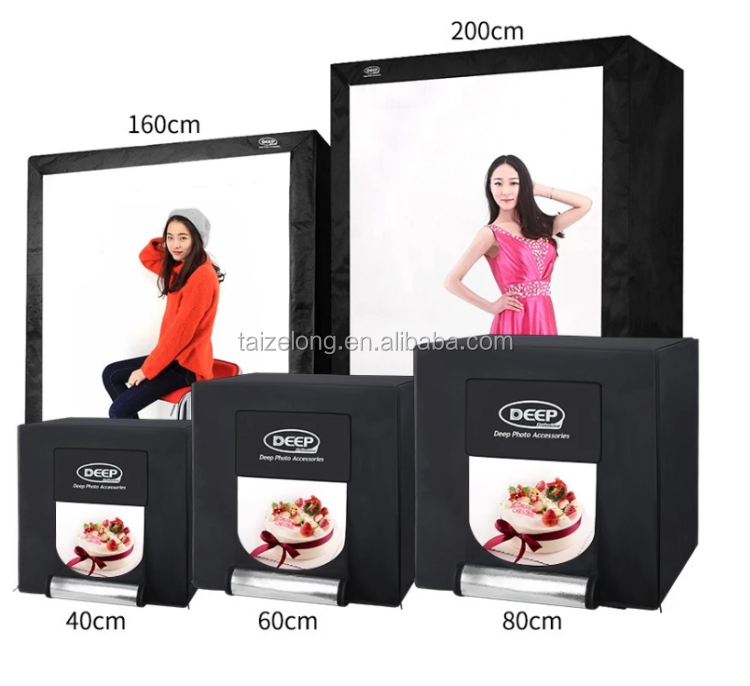 DIEPE Photo Studio Light Box Draagbare 60x60x60 cm Video Tent LED 3200-6000K Mini 60W Lichtbak Fotografie CRI93 + 13000Lumen