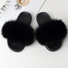 Женские шлепанцы, пушистые шлепанцы для дома, женские летние шлепанцы с натуральным мехом, модная женская обувь на резиновой подошве, 2020(Китай)