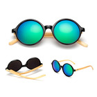 DLK1527 Hot Original Material Round Shape Wood Bamboo Sunglasses Custom Logo