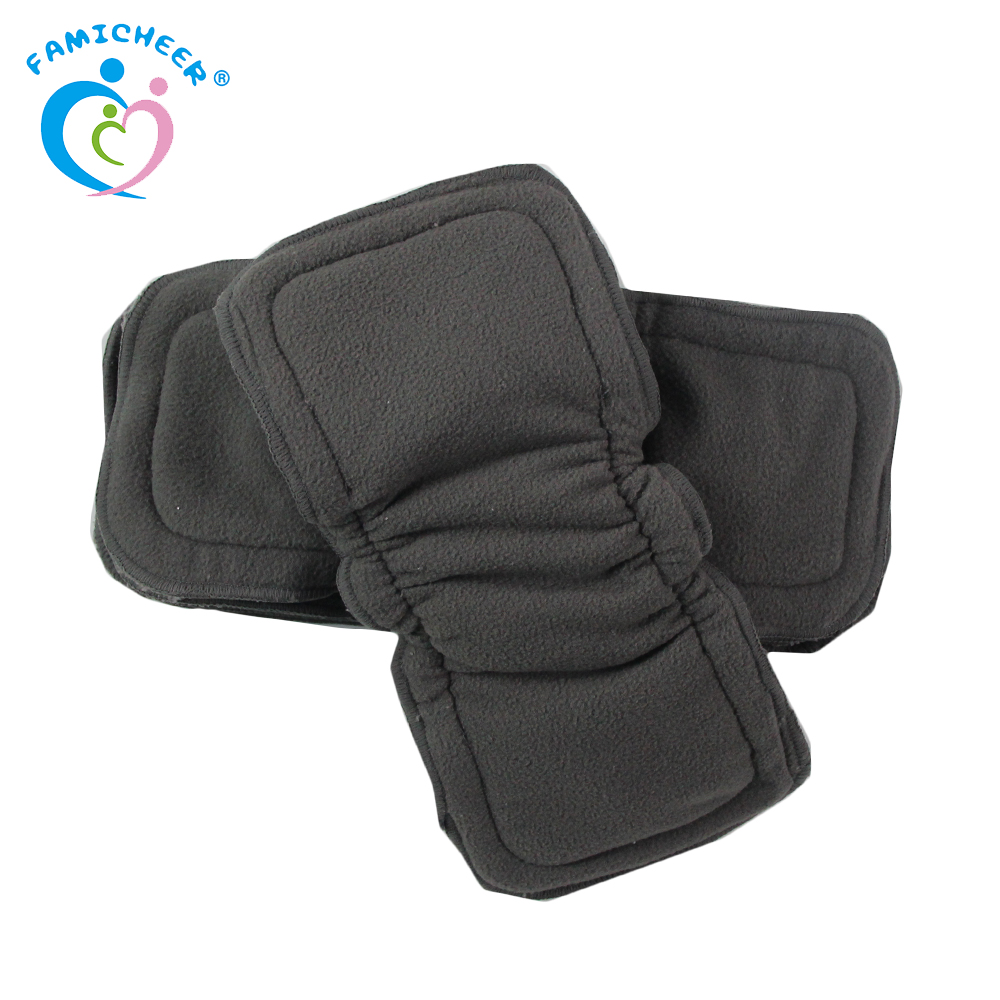 Naturally Cloth Diaper Inserts 5 Layer Charcoal Bamboo Reusable Liners With Gussets