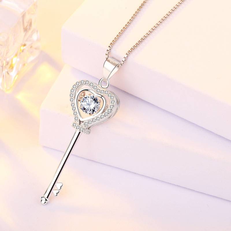 Wholesale Classic Key 925 Sterling Silver Jewelry 2019 Women Fashion Jewellery Gold Necklace