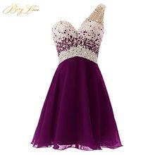 Розовое платье для выпускного вечера для молодых девушек 2020, вечернее шифоновое платье на одно плечо с блестками и бусинами(Китай)