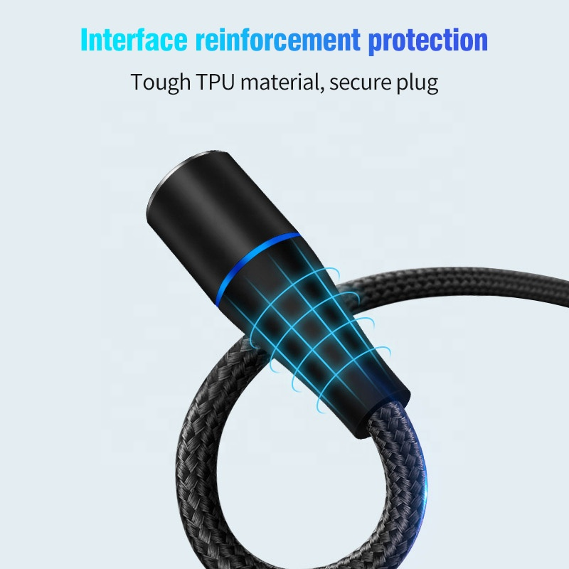 3A fast charging magnetic 3 in 1micro usb c charger data cable 100cm logo customized nylon braided type-c cable for iphone 11
