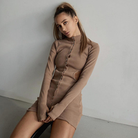 Sexy Hollow Out Waisted Brown Long Sleeve Women Straight Wrap Mini Dresses