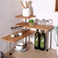 3 Tier Corner Shelf,Bamboo Spice Rack Display Shelves Space Saving Organizer for Living Room, Kitchen