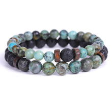 Alam Hitam Lava Stone Mens <span class=keywords><strong>Gelang</strong></span> Afrika Turquoise Diffuser Chakra <span class=keywords><strong>Manik-manik</strong></span> Manik <span class=keywords><strong>Gelang</strong></span>