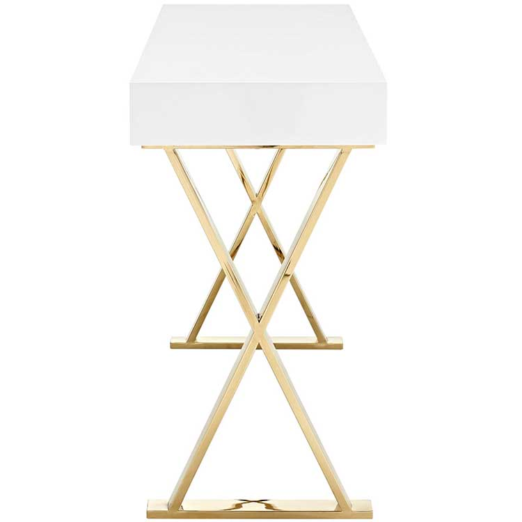 natural solid wooden top modern wood high console table gold frame metal luxury bedroom classic design desk european farmhouse