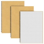 Custom A5 Grid Spiral Notebooks 3 Pack Squared Journal Kraft Cover 5mm Square Grid Pages 5.3 x 7.5 inch White Paper