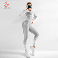 High Waisted Gradient Women Seamless yoga wear tights Shark pants Sexy sports cropped top Fitness gym legging yoga set