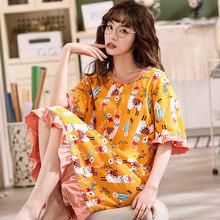 Одежда для сна из хлопка с героями мультфильмов, женские летние ночные рубашки, Женская хлопковая ночная рубашка с круглым вырезом, Сексуал...(Китай)