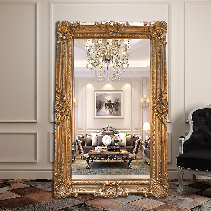 MOK Ornate frame length stand wide antique big large wall full body project mirror