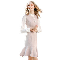 Logo Pattern OEM - Fashion Women Autumn Dress Plaid Woman Girl Tweed Dress