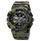 SKMEI 1688 Military Green LED Light Dual Time Multifunctional 5atm Waterproof Analog Digital watch