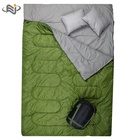 Logo Customization Sleeping Bag Camping Double Sleeping Bag with Pillow for Backpacking Camping Or Hiking. Cold Weather 2 Person Waterproof Sleeping Bag for Adult