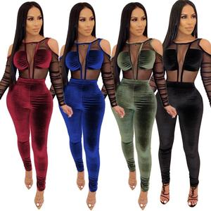 XA3321 ladies fashion velvet pants and bodysuit two piece boutique outfits