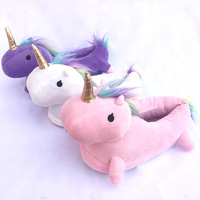 hot sale winter indoor slippers animal shaped cute animal slippers plush unicorn slipper