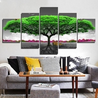 5 Panel Big Tree Canvas Painting Oil Painting Print On Canvas Home Decor Art Wall Picture For Living Room