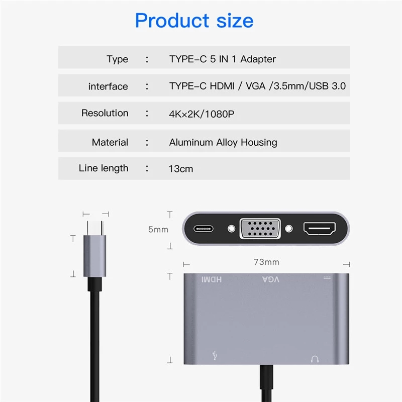 hot selling 5 ports usb 3.1 hub type c to hdmi vga adapter 4K usb type c hub with audio usb and charging for apple sumsung
