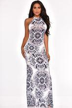 Женское пляжное платье с цветным блочным принтом, богемное вечернее длинное платье с открытой спиной и открытой спиной, Женская Минималист...(Китай)