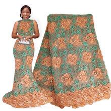 Африканская новейшая кружевная ткань, белая нигерийская ткань, кружевное вышитое бисером кружево, африканская Свадебная Ткань 5 ярдов для с...(Китай)