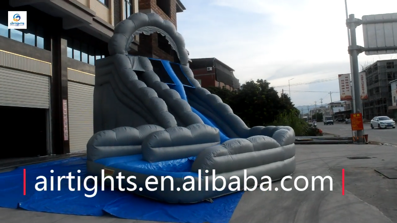 Airtight factory sale top quality commercial giant inflatable wild rapids water slide