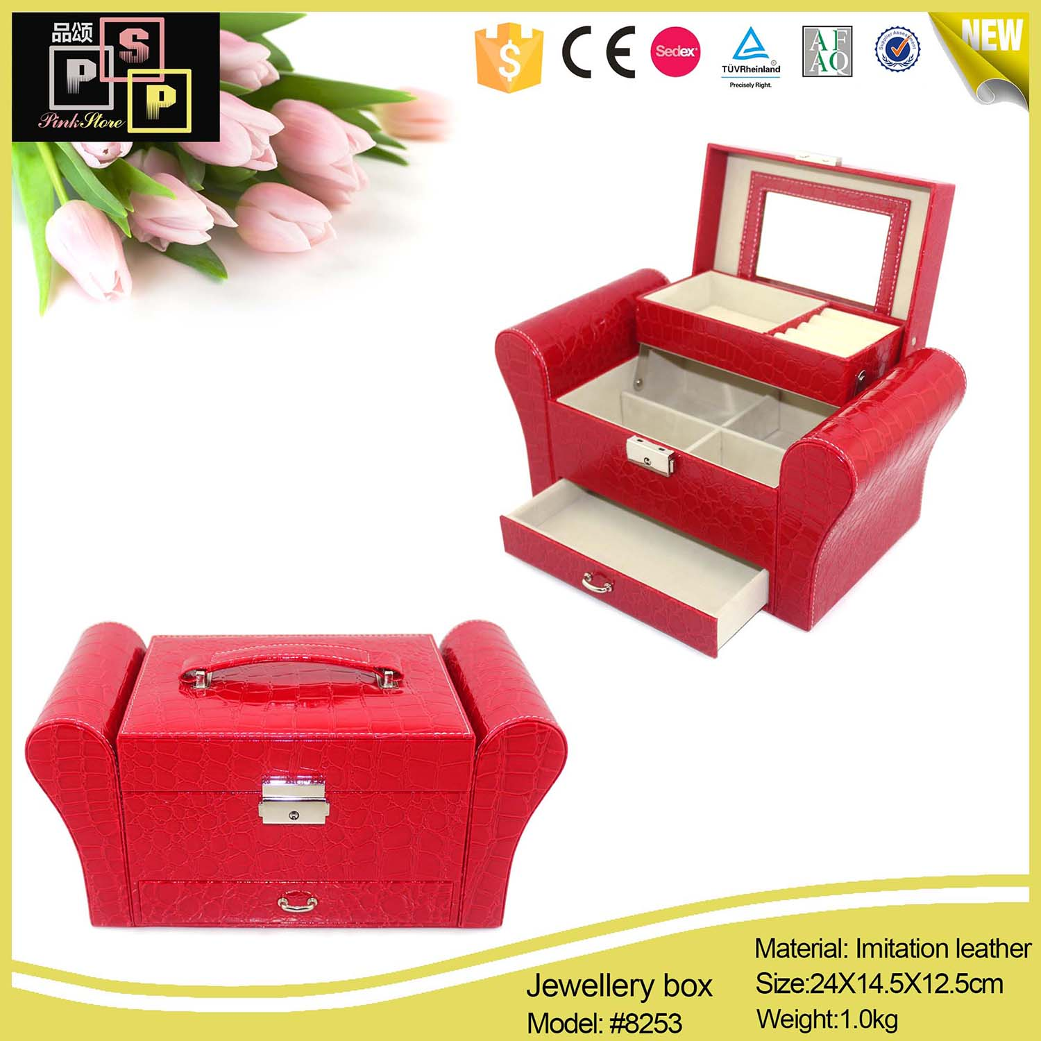 Chinese Rose Pink Premium Sublimation Custom Packaging Couch Sofa Shaped Jewelry Box